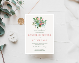 Cacti Floral Bunch Printed Wedding Invitations