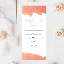 Load image into Gallery viewer, Watercolor Peach/Coral Printed Menu Cards