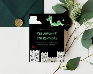 Knight & Dragon Printed Birthday Party Invitations