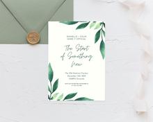 Load image into Gallery viewer, Long Watercolor Leaves Printed Wedding Invitations
