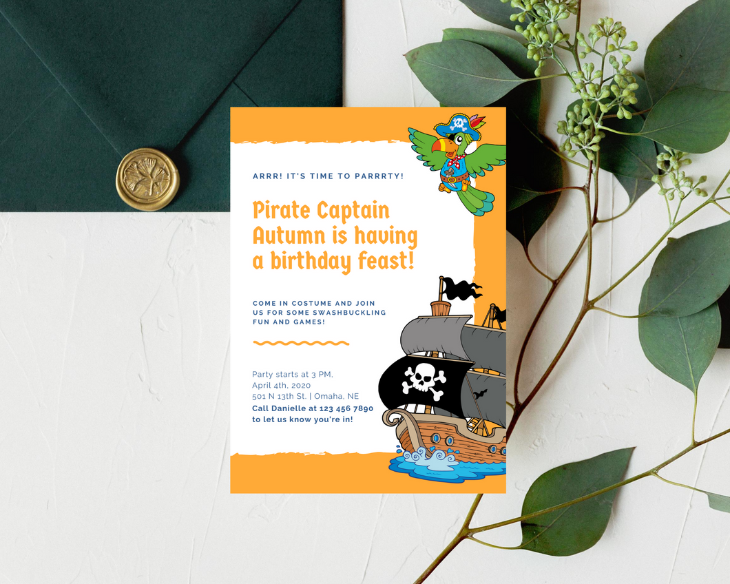 Pirate Feast Printed Birthday Party Invitations