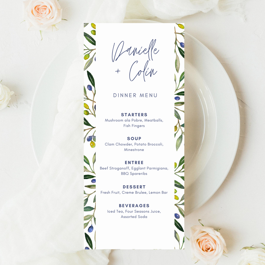 Olive Branch Printed Menu Cards