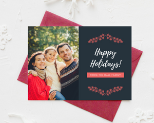 Coral Branches Printed Holiday Cards