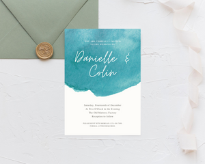 Watercolor Teal Printed Wedding Invitations