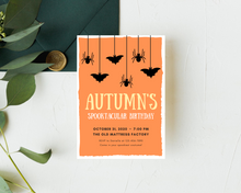 Load image into Gallery viewer, Halloween Bats & Spiders Printed Birthday Party Invitations