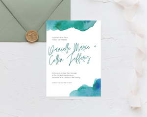 Watercolor Teal & Blue Printed Wedding Invitations