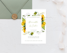 Load image into Gallery viewer, Sunflower Frame Printed Wedding Invitations