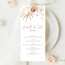 Load image into Gallery viewer, Neutral Boho Floral Palm Printed Menu Cards
