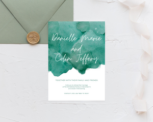 Watercolor Teal Green Printed Wedding Invitations