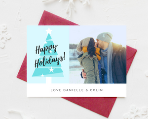 Blue Tree Printed Holiday Cards