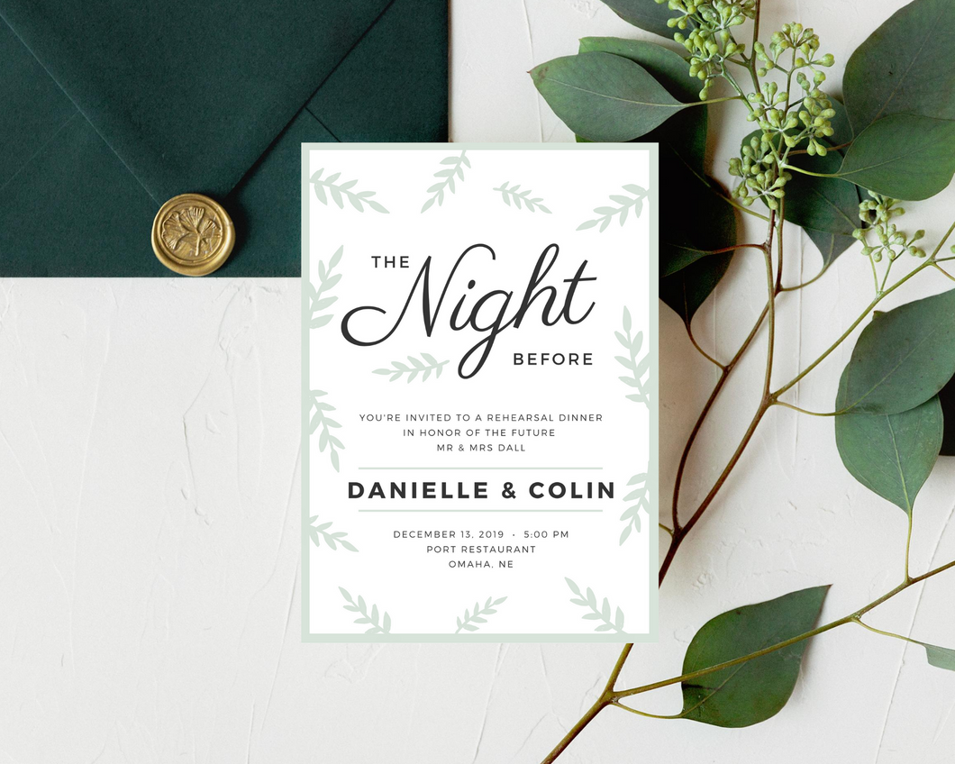 Holiday Greenery Printed Rehearsal Dinner Invitations