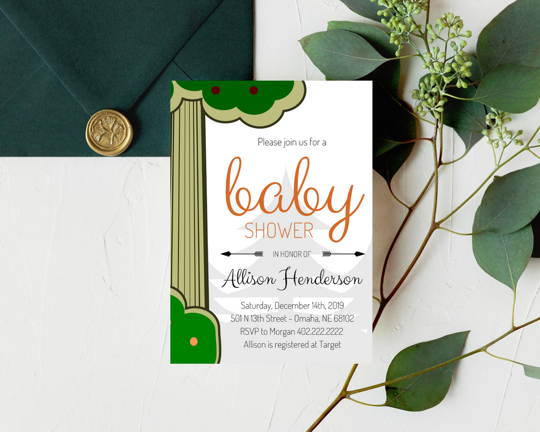 Woodland Animal Printed Baby Shower Invitations
