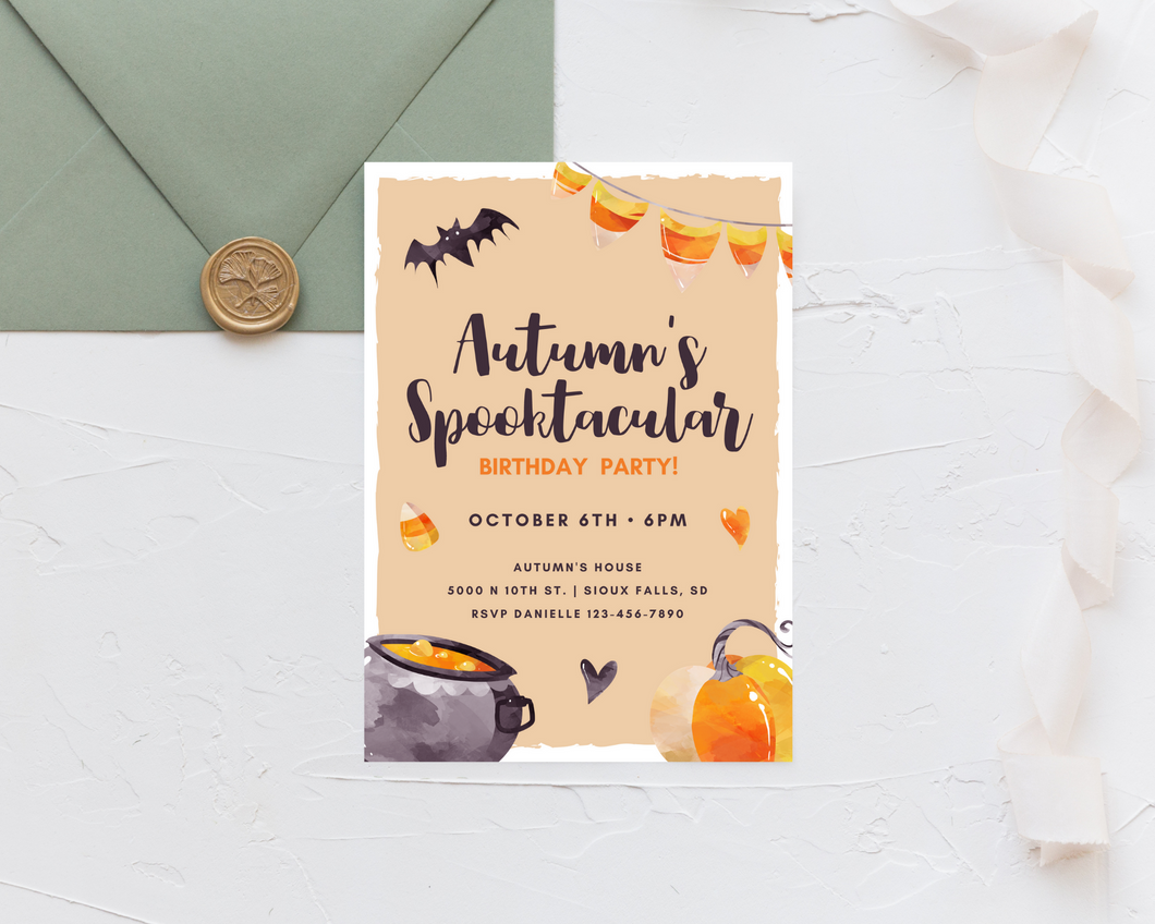 Candy Corn Spooktacular Printed Birthday Party Invitations