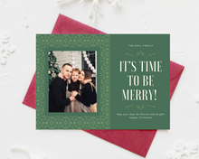 Load image into Gallery viewer, Time to be Merry Printed Holiday Cards