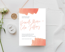 Load image into Gallery viewer, Watercolor Peach/Coral Printed Wedding Invitations
