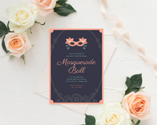 Load image into Gallery viewer, Masquerade Ball Printed Birthday Party Invitations