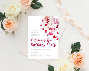 Day Spa Printed Printed Birthday Party Invitations