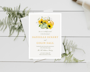 Sunflower & Pumpkins Printed Wedding Invitations
