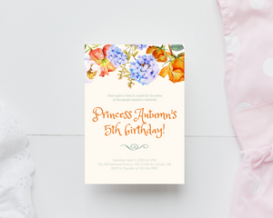 Floral Princess Party Printed Birthday Party Invitations
