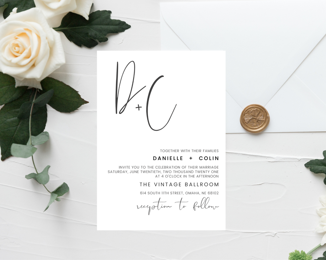 Handwritten Monogram Printed Wedding Invitations