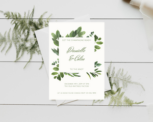Realistic Leaves Printed Wedding Invitations