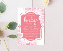 Load image into Gallery viewer, Pink Floral Printed Baby Shower Invitations