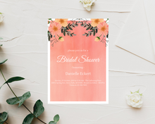 Load image into Gallery viewer, Pink & Coral Floral Printed Bridal Shower Invitations