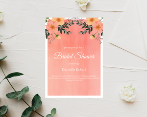 Pink & Coral Floral Printed Bridal Shower Invitations