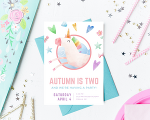 Unicorn Printed Birthday Party Invitations