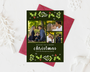 Holly Christmas Printed Holiday Cards