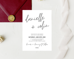 Handwritten Names Printed Wedding Invitations