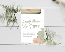 Load image into Gallery viewer, Watercolor Sage Green/Burnt Orange Printed Wedding Invitations