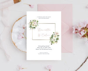 White Peony Corners Printed Wedding Invitations