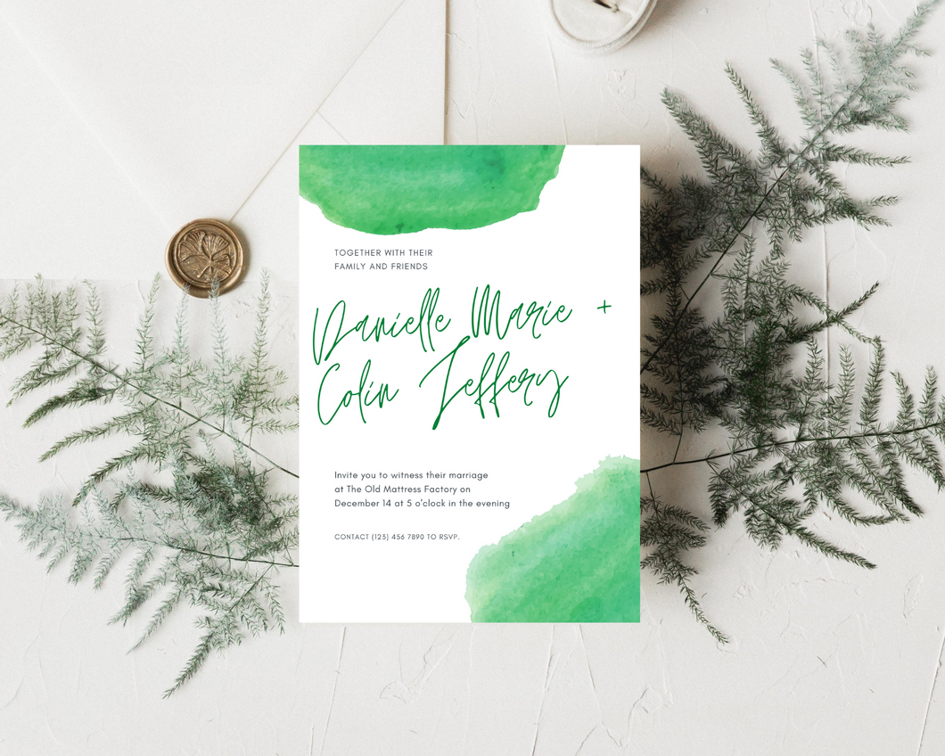 Watercolor Green Printed Wedding Invitations
