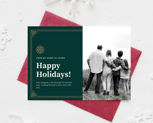 Green with Gold Border Printed Holiday Cards