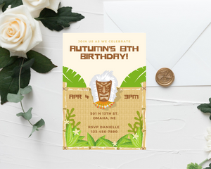 Tiki Party Printed Birthday Party Invitations