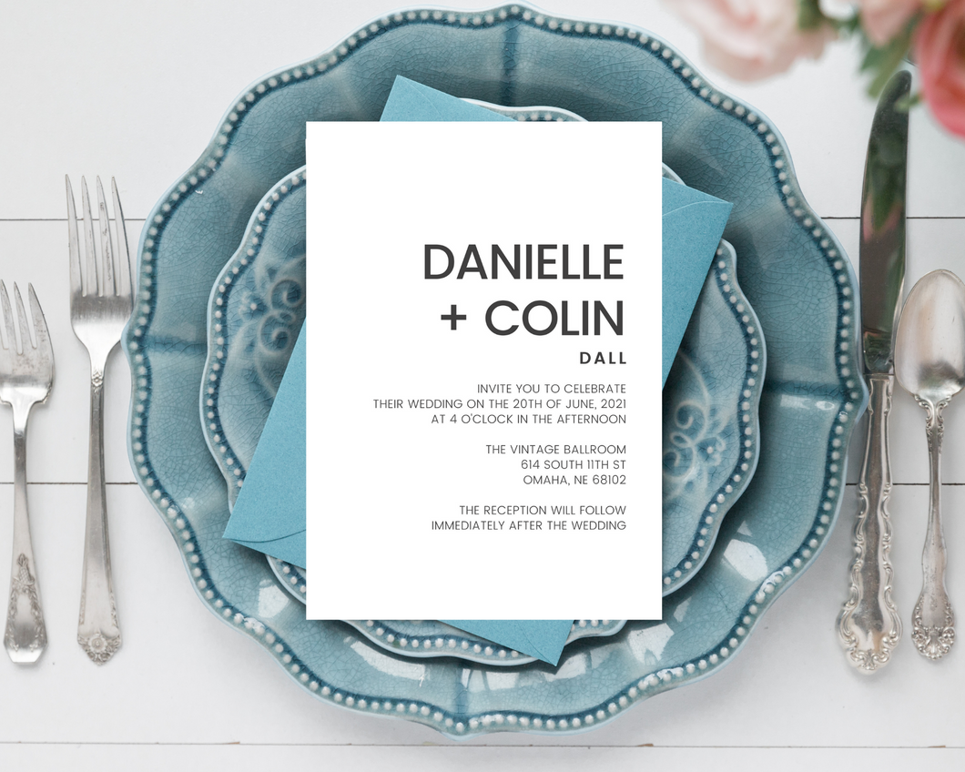 Bold Typography Printed Wedding Invitations