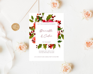 Holly Stems Frame Printed Wedding Invitations