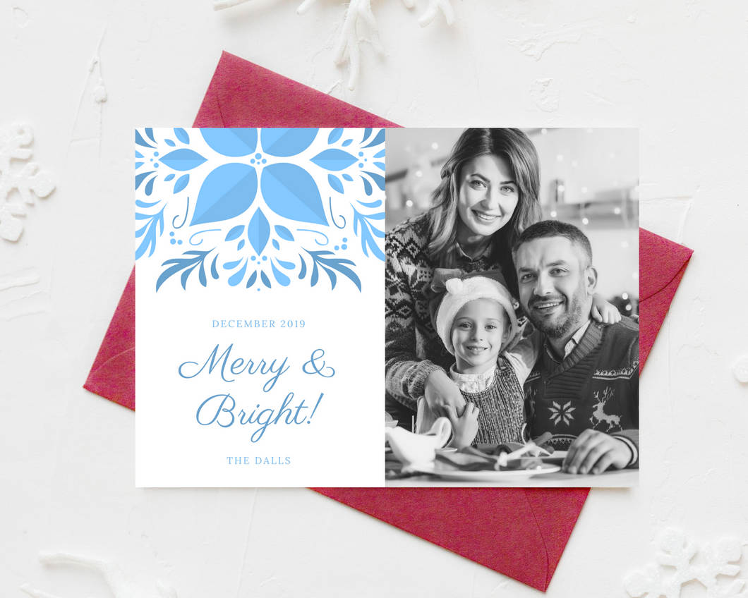 Blue Snowflake Printed Holiday Cards