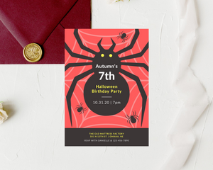 Halloween Spider Printed Birthday Party Invitations