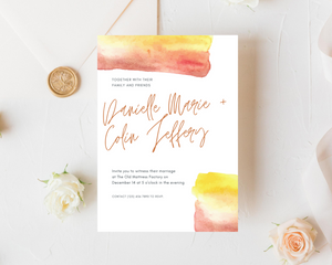 Watercolor Sunset Printed Wedding Invitations