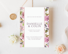 Load image into Gallery viewer, Mauve Rose Border Printed Wedding Invitations