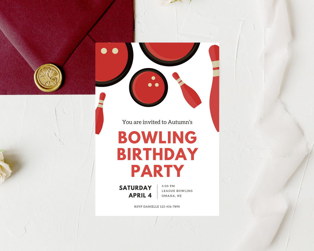 Bowling Party Printed Birthday Party Invitations