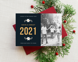 Cheers New Year Printed Holiday Cards