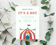 Load image into Gallery viewer, Circus Printed Baby Shower Invitations