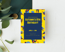 Load image into Gallery viewer, Superhero Printed Birthday Party Invitations