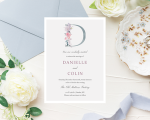 Une Fille Monogram Printed Wedding Invitations