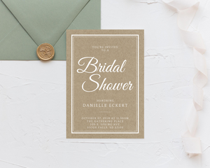 Simple Rustic Printed Bridal Shower Invitations