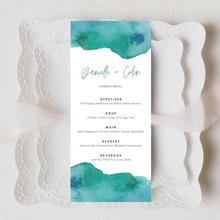 Load image into Gallery viewer, Watercolor Teal & Blue Printed Menu Cards