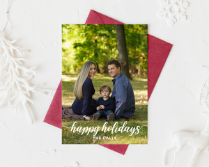 Fun Cursive Printed Holiday Cards